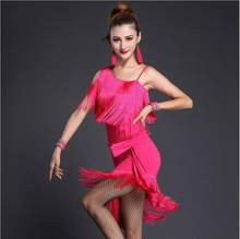 Modern Ballroom Costume Sexy Tassel Latin Dance Dress Women Professional Tango Rumba Performance Wear(China)