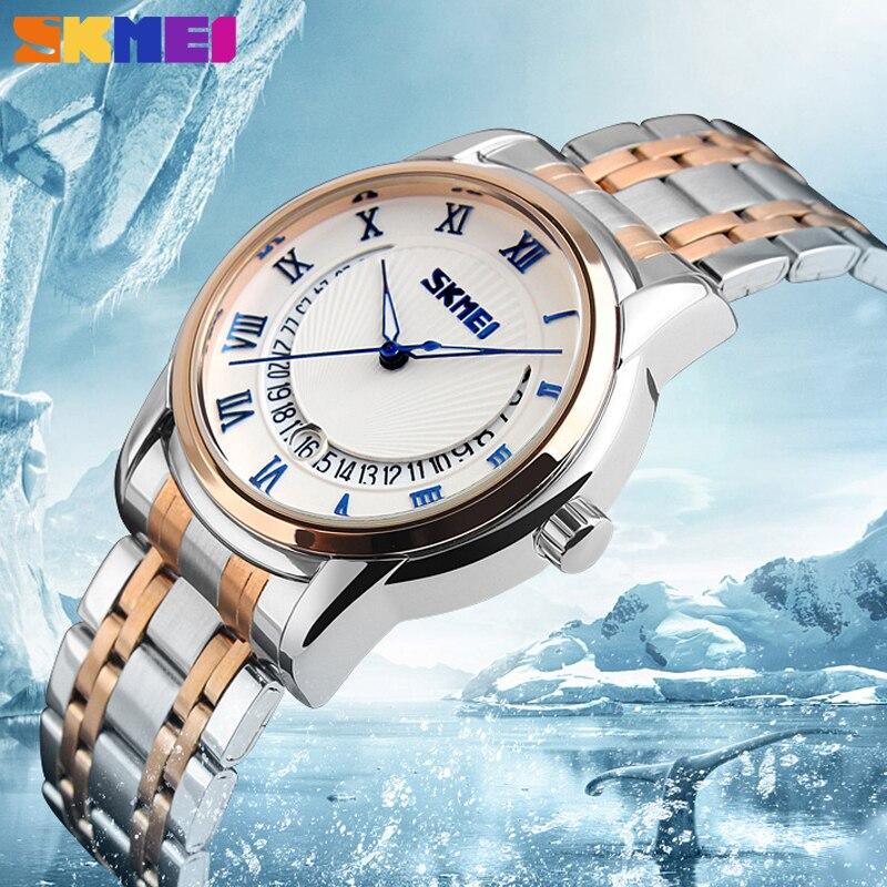 Top Brand Luxury SKMEI Men quartz watch Auto Date Waterproof Trendy Watches for Man Businessman Male Rose Gold band wristwatches