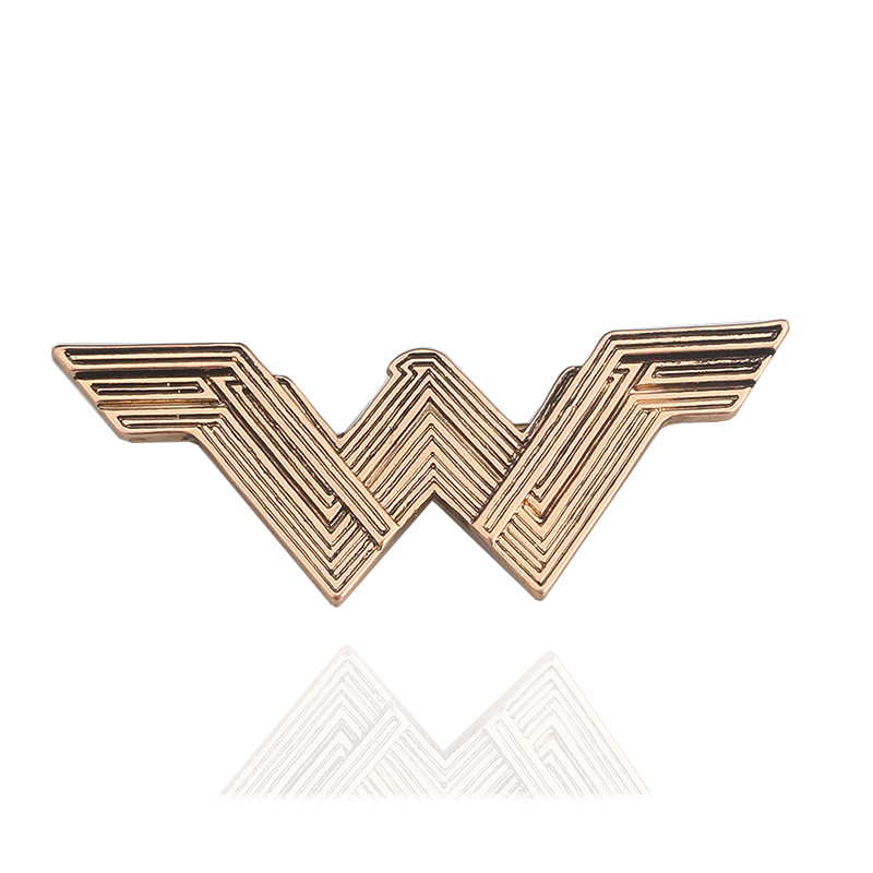 Movie Series Superhero wonder women W letter Metal Badges Brooches for fans