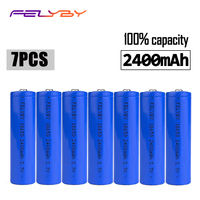 FELYBY 7pcs brand 2400mAh 100% capacity 18650 li ion battery 3.7v lithium 18650 rechargeable battery For Laser pen flashlight