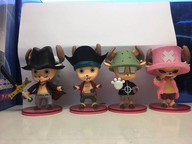4pcs Mini One Piece Anime Tony Tony Chopper cos Shichibukai PVC Action Figures Model Dolls Toy (4pcs set)