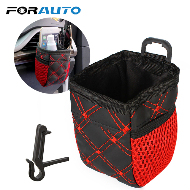 FORAUTO Car Outlet Storage Bag Pocket Organizer Phone Holder Hanging Bag Grid Net Universal Auto Accessories Car Styling
