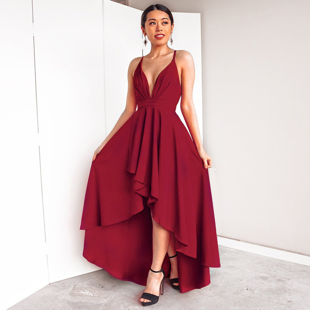 Rode Lange Jurk.Rode Lange Jurk Elegante Slip Bodycon Jurken Voor Vrouw 2019 Sexy V