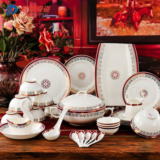 Western-style Luxurious 60 Head Bone China Porcelain Tableware Sets Top Quality Villa Dinnerware Sets & Western style Luxurious 60 Head Bone China Porcelain Tableware Sets ...