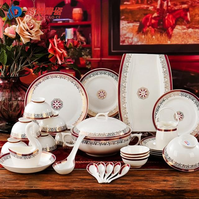 Westlichen stil Luxuriöse 60 Kopf Bone China Porzellan Geschirr ...