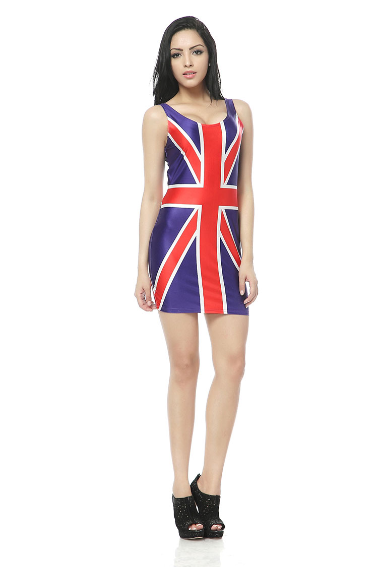 UK England British Flag Vest Summer Dress Beach Dresses Clothes Wear Woman Clothing Fashion