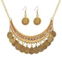 Fashion Simple Wild Punk Coin Jewelry Sets Necklace Drop Earrings Set Jewellery