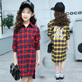 Girls Plaid Shirt 2017 Spring Girls Clothes Teenage School Girls Shirts for Girls Blouse Children Long Blouse 4-14T Kids Clothes