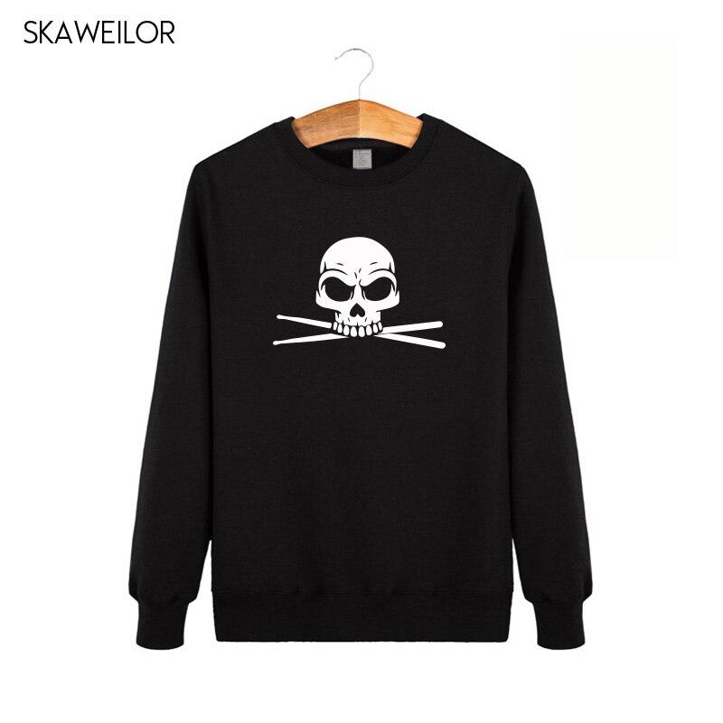 Drummer Skull Print Long Sleeve Hoodies Men Winter Fashion Casual O-neck Sweatshirts Cool Rock Band Streetwear Tops