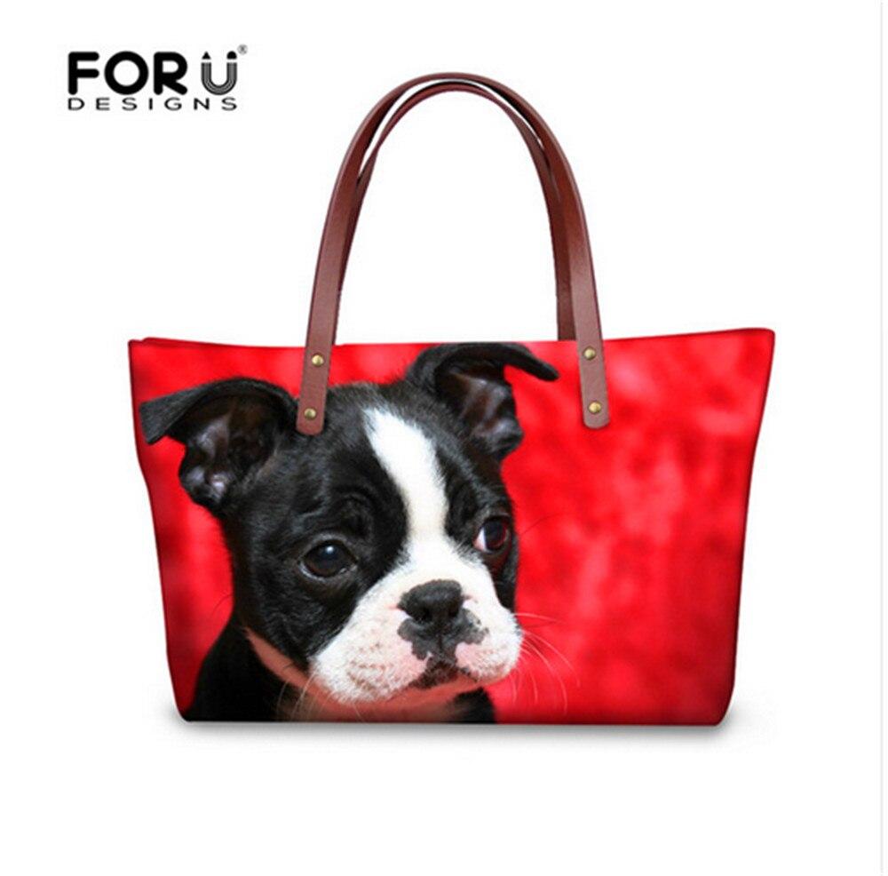 цена на FORUDESIGNS Boston Terrier Puppy shoulder bag women handbags large capacity casual mujer travel bolsas handbag messenger bags