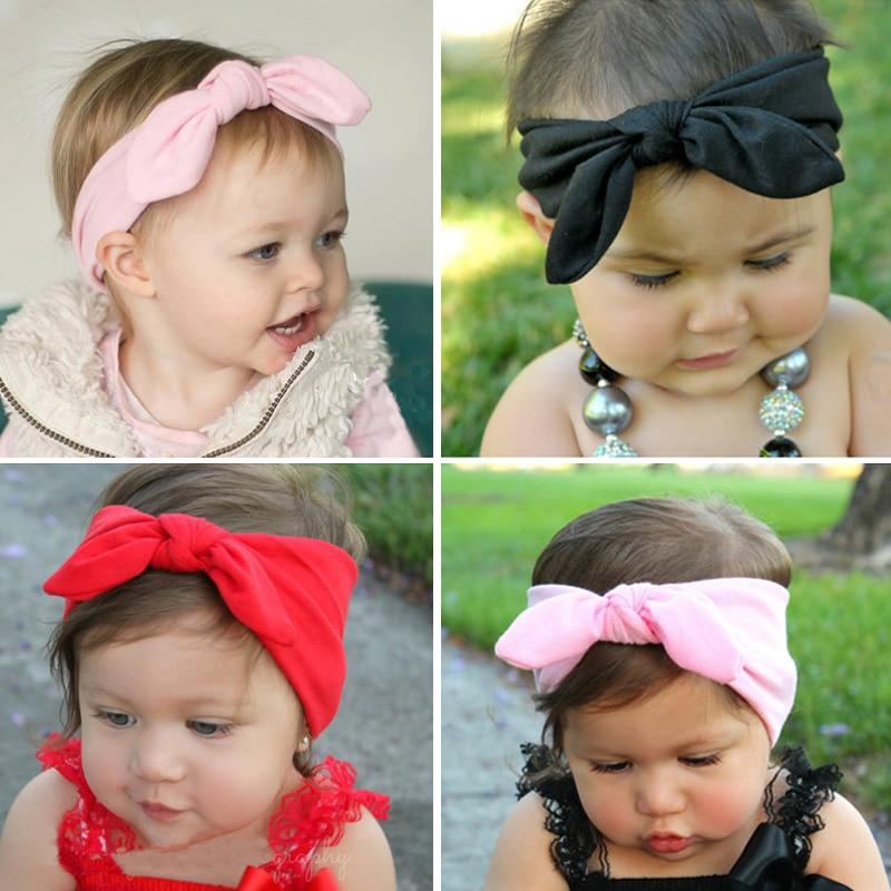 Cute Rabbit Ears Elastic Bow Cotton Headband for Baby Girls