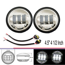 Chrome 4.5″ 4 1/2 Inch with Cree LED Fog Lights Daymaker Passing Auxiliary Lamp for Harley Davidson Motorcycles