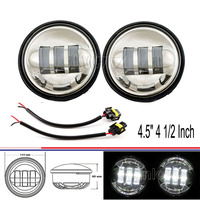 Chrome 4.5 4 1/2 Inch with Cree LED Fog Lights Daymaker Passing Auxiliary Lamp for Harley Davidson Motorcycles