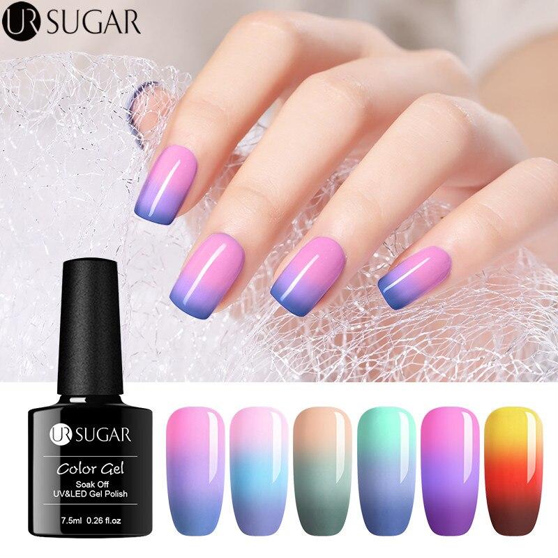 Polish Nail-Gel Ur Sugar Changing Temperature-Color Lacquer Soak-Off 3-Colors Varnish