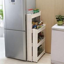 3/4 Layers Sundries Storage Rack with Wheels Kitchen Living Room Bathroom Storage Holders Organization PP White Blue