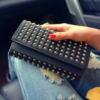 2018 cosy Time limited New Arrival Synthetic Leather Punk Wallets Rivet Wallet Women's Long Design Purse Two Fold 2 Color Clutch