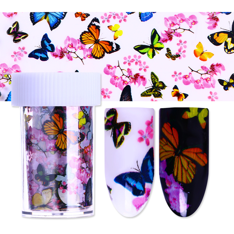 4*100cm Butterfly Flower Nail Foil Colorful Floral Starry Paper Manicure Nail Art Transfer Sticker 4 baisi 100