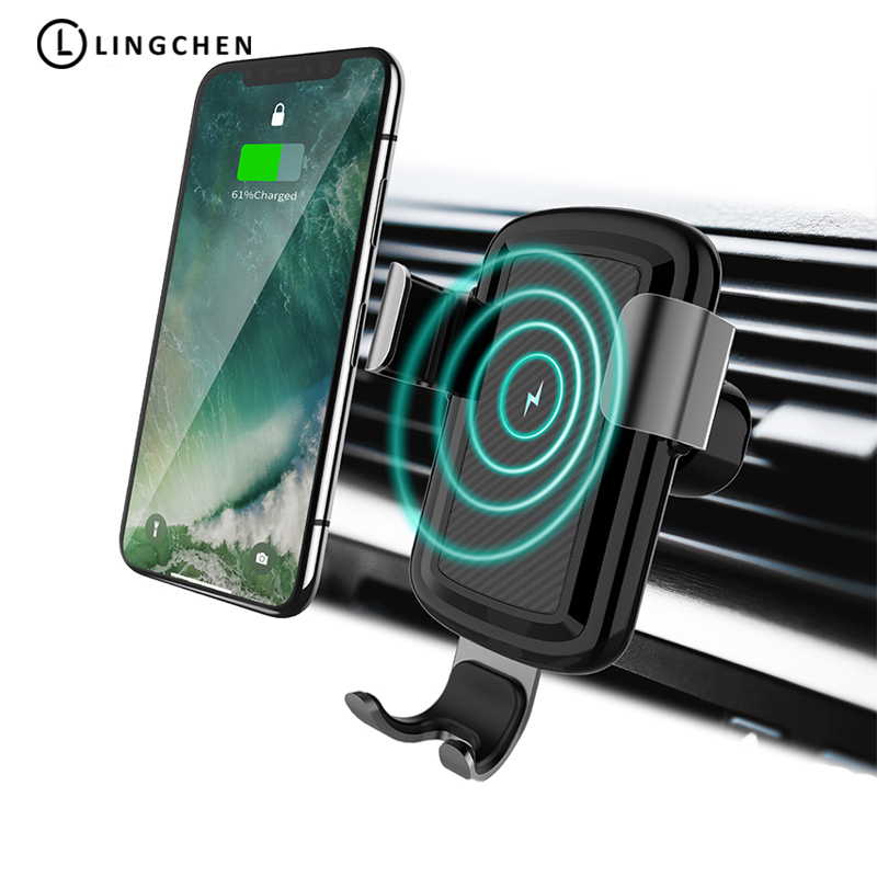 LINGCHEN Car Mount Qi Wireless Charger For Samsung S9 S8 Note 9 Wireless Charging For iPhone X XR XS MAX 8 in Car Phone Holder