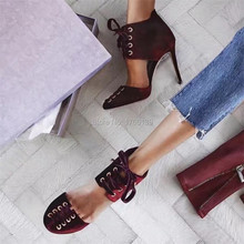 New Fashion Velvet Women Pump Lace Up Summer Boots Wine Red Stiletto Prom Wedding Dress Shoes Woman High Heels Valentine Shoe