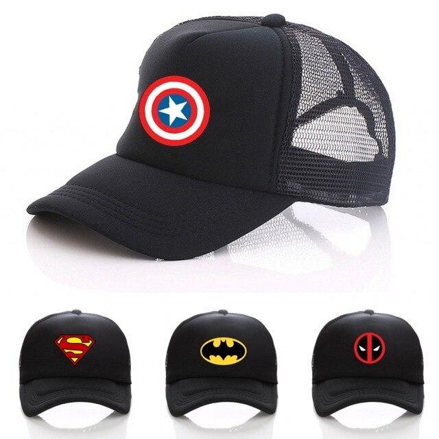 Marvel Comics Super hero LOGO hat Cosplay adjusted baseball hat Women Men  Boys Girls Hat Baseball Mesh Cap 3d948fcfae87