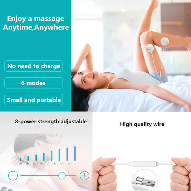 New Portable Muscle Stimulator Body Massager Phone connection Acupuncture Back Neck Tens Therapy Electric Massage Pad relaxation 2