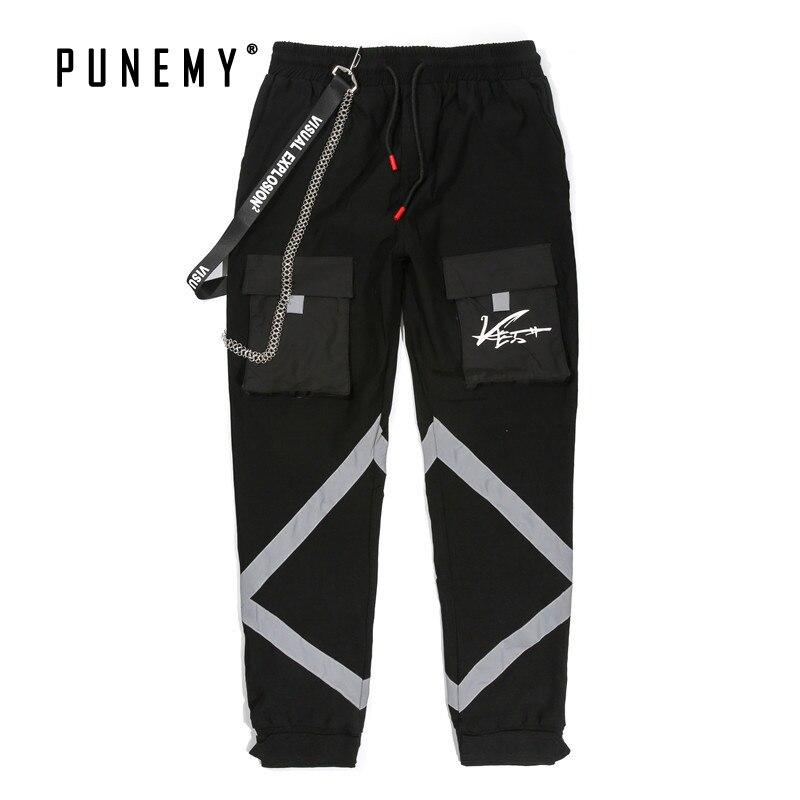 Homme pantalons de survêtement Joggers Vintage pantalons de danse de rue 3 M chaîne latérale réfléchissante Hip Hop Streetwear Cargo pantalon pour homme pantalons de survêtement