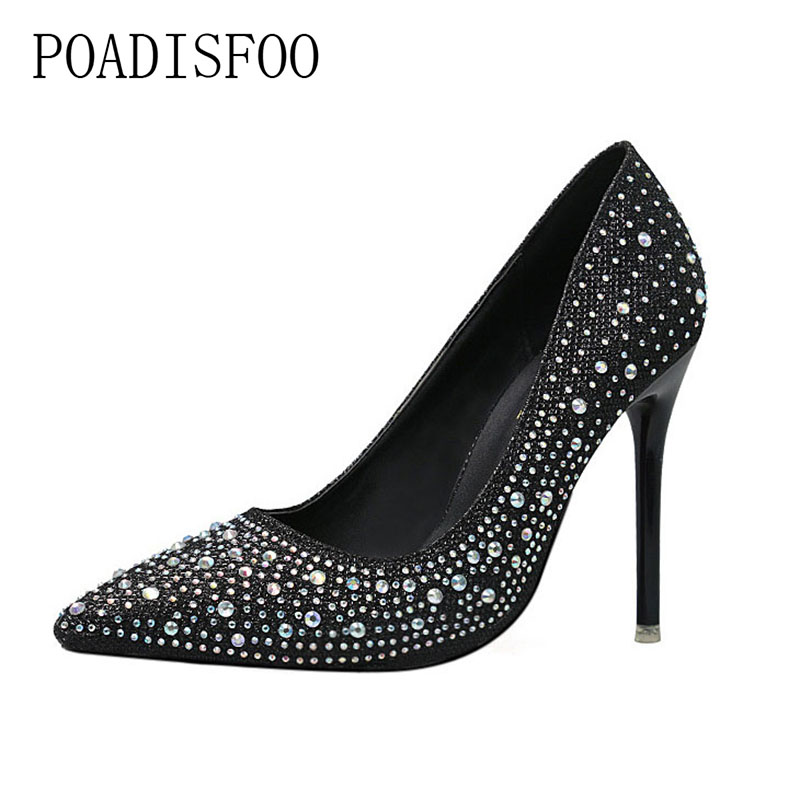 POADISFOO Women's Party Wedding Thin Heels Super high heel Pumps 10cm Pointed Toe Crystal Rhinestone Elegant women pumps.ZWM-305 стоимость