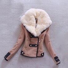 Autumn warm cotton slim long sleeve lapel fur collar women short coat jacket ladies tops Parka Black Khaki gray outerwear femmes