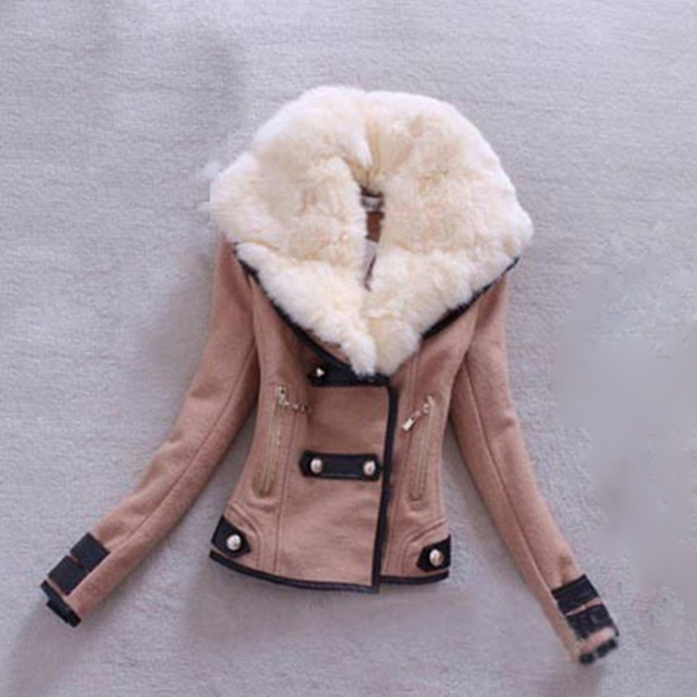 Autumn warm cotton slim long sleeve lapel fur collar women short coat jacket ladies tops Parka Black Khaki gray outerwear femmes