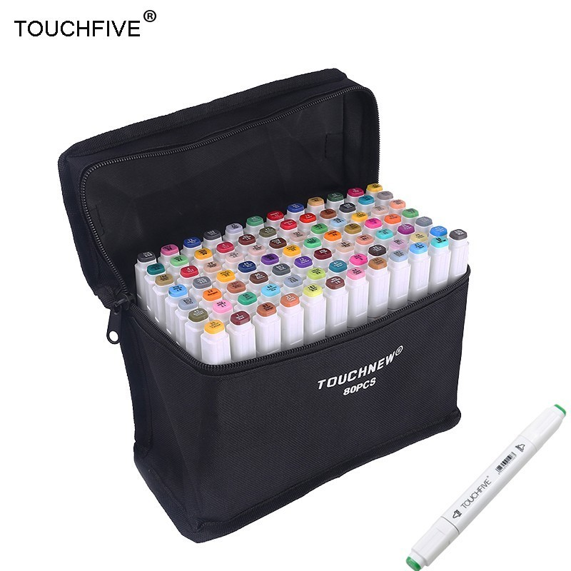 TOUCHFIVE 30/40 Colors Pen Marker Set Dual Head Sketch Markers Brush Pen For Draw Manga Animation Design Art Supplies sketch marker pen 218 colors dual head sketch markers set for school student drawing posters design art supplies