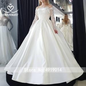 Image 5 - Swanskirt Vestido de novia de satén con apliques elegantes, cuello Barco, manga larga de encaje, línea A, Vestido de novia Princesa, F135 Vestido de novia, 2020