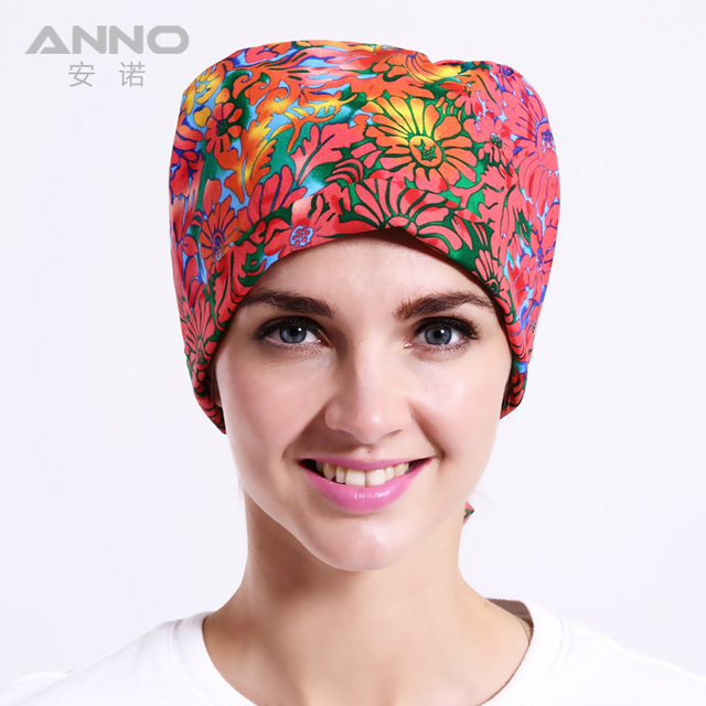 Red Chrysanthemum pattern printing Gourd  cap scrub hats unisex hats suitable for long and short hair with comfortable