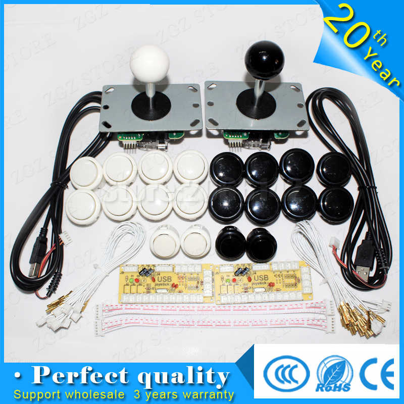 Free shipping Arcade Sanwa Joystick  Sanwa Push Buttons Zero Delay Arcade DIY Kit Mame USB Encoder To PC DIY Arcade game 2player sanwa button and joystick use in video game console with multi games 520 in 1