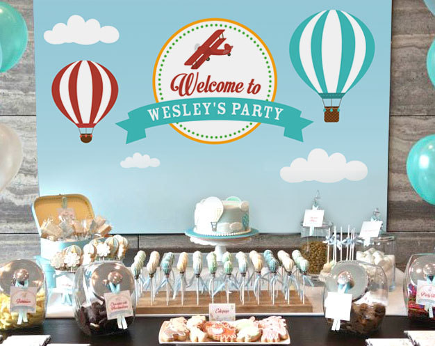 custom hot air balloon clouds backgrounds High quality Computer print party backdrops