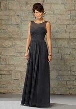 2015 new fashion sleeveless pleated chiffon long bridesmaid dress to floor with sheer net neckline sexy slit back