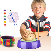 Children Craft Novelty Toys Ids Motorized Ceramic Pottery Wheel DIY Pottery Toy Pigment Device Educational