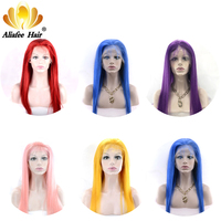 AliAfee Hair 150% Lace Front Human Hair Wigs 8 30 Brazilian Straight Hair Wig Blue/Red/Pink/Purple/Yellow Wigs 100% Human Hair