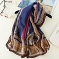 2017 new luxury band women scarf fashion print silk scarves square shawls soft print striped summer bandana foulard large size