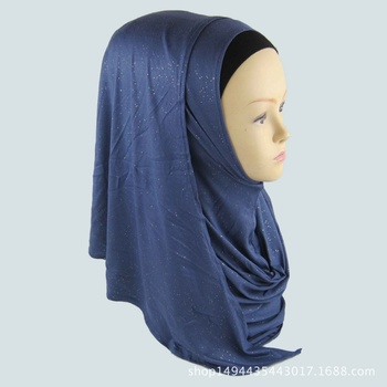 Glitter Plain One Loop Instant Hijabs Shawl Modal Jersey Islamic Scarves Muslim Hijab Turban Plain Women Head Scarf Shawl fashionable women lace edges scarves islamic head scarf chiffon muslim hijabs turban plain long shawl headscarf stole 180 75cm