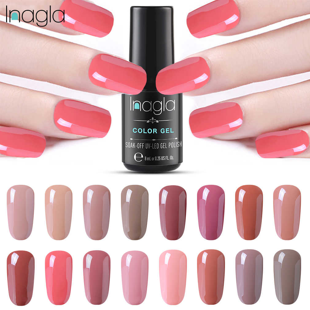 Inagla Nail Gel Polish High Quality Nude Paint Gel Crystal Lacquer Nail Art Soak off Long-last UV LED Gel Nail Polish