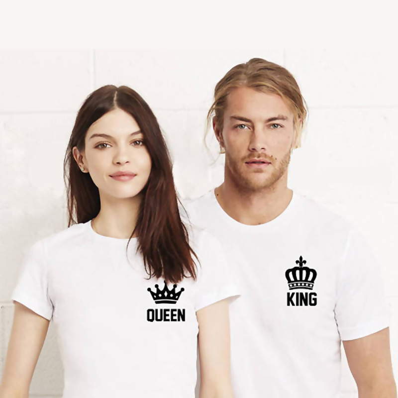 302e74c246 EnjoytheSpirit King and Queen Cool Couple Tees King Queen Pocket Printing  Funny Matching Couple Shirts Anniversary