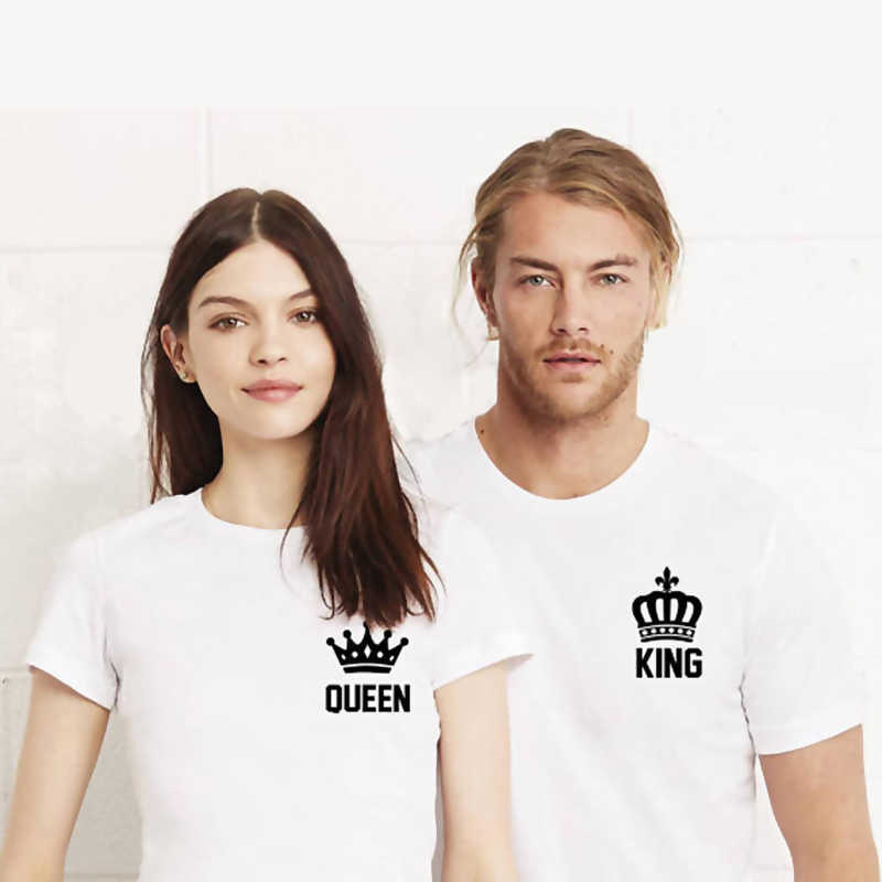 bc260c091f EnjoytheSpirit King and Queen Cool Couple Tees King Queen Pocket Printing  Funny Matching Couple Shirts Anniversary