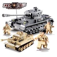 Kazi German King Tiger F2 Tank Building Blocks Sets Figures LegOINGLs Military WW2 Army Soldiers DIY Bricks Toys for Children