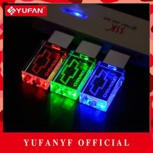 YUFANYF 2017 pendrive 3 colors Red / blue / green LED Chevrolet car LOGO USB falsh drive 4GB 8GB 16GB 32GB U Disk crystal gift