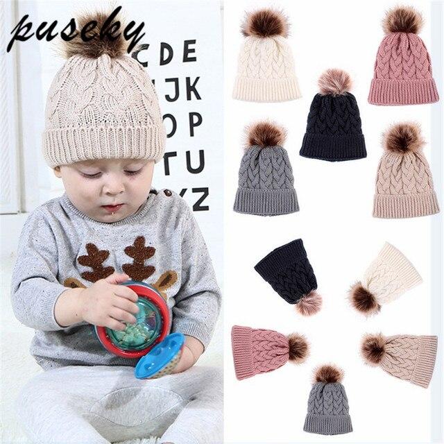 Puseky 2018 Pom Infantil Toddler Winter Hat For Girls Hat Knitted