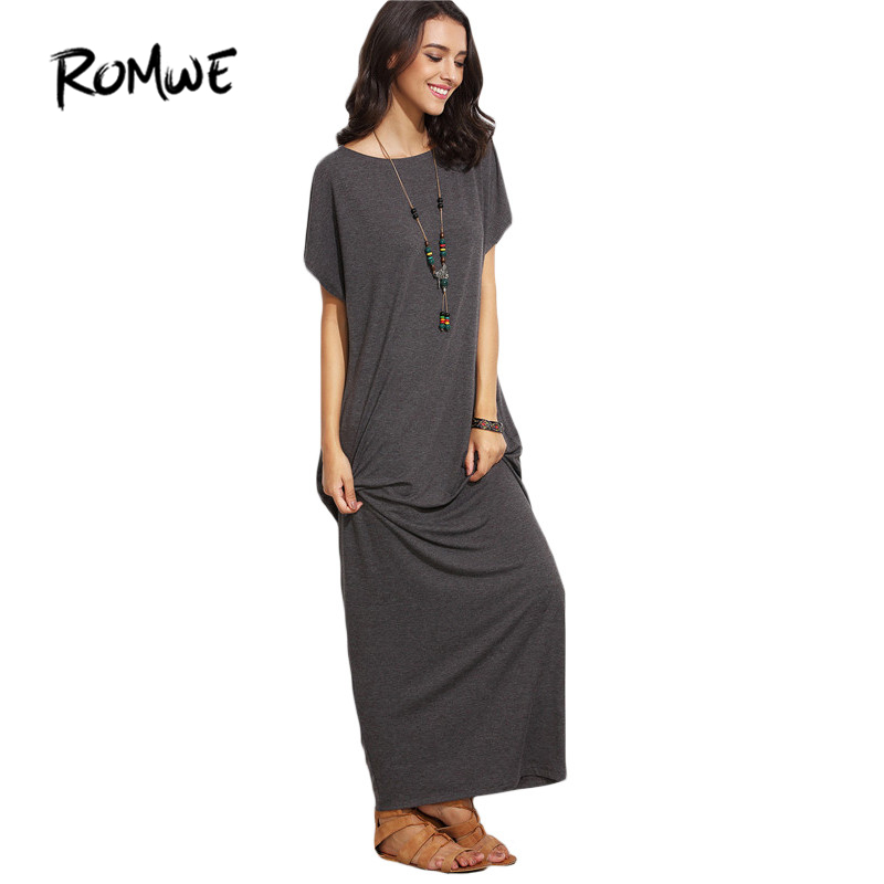 ROMWE Grey Short Batwing Sleeve Basic Maxi Dress,Women Long Casual T-Shirt dress,Comfortable for Summer Vacation, Side Pocke