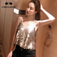 Summer tops for women 2018 new crop top wild retro Women's vest tops silver sequined sling Tank top short loose blouse