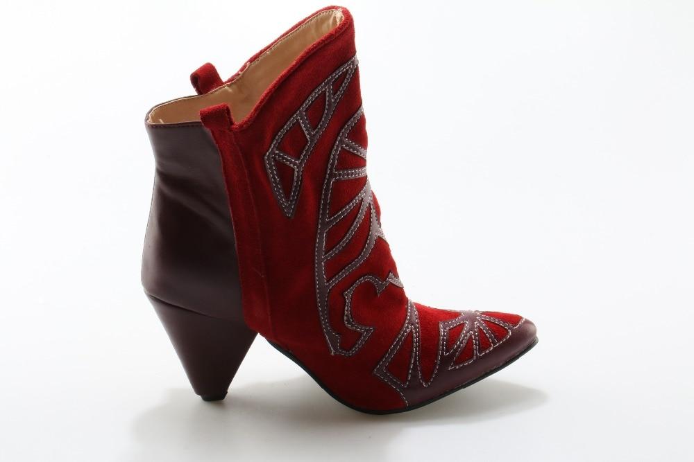 Rouge Brodé En Slip Mode Chaussons Dame Cheville Bout Femmes Cowboy Pointu Daim De Chaude Courtes Aiguilles Bottes Talons Chaussures on qE0pwtR