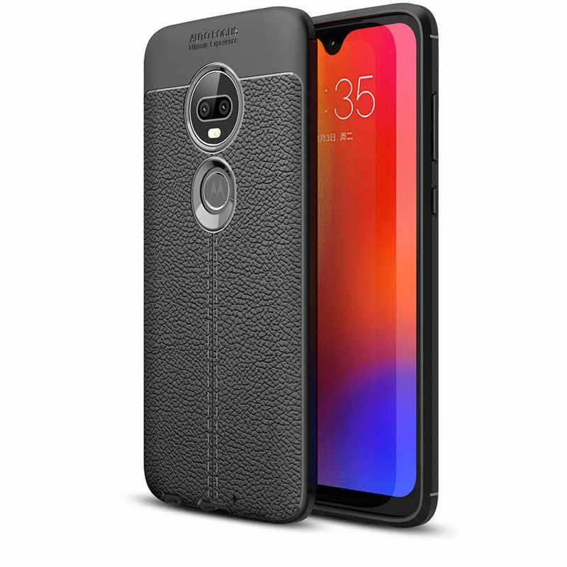 Voor Motorola Moto G7 Case Skin Litchi Carbon Fiber Zachte Siliconen Telefoon Cover Voor Moto G5 G5S E5 G6 Plus e6 P40 Z4 Spelen (L1120)