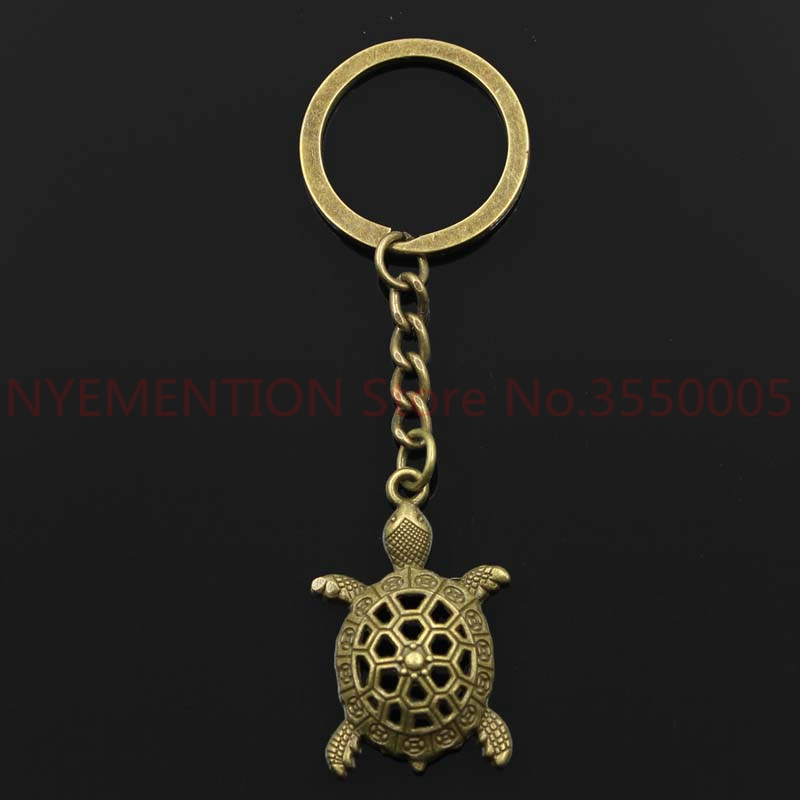 Fashion 30mm Key Ring Metal Key Chain Keychain Jewelry Antique Silver Plated hollow tortoise turtle sea 38*25mm Pendant  200pcs